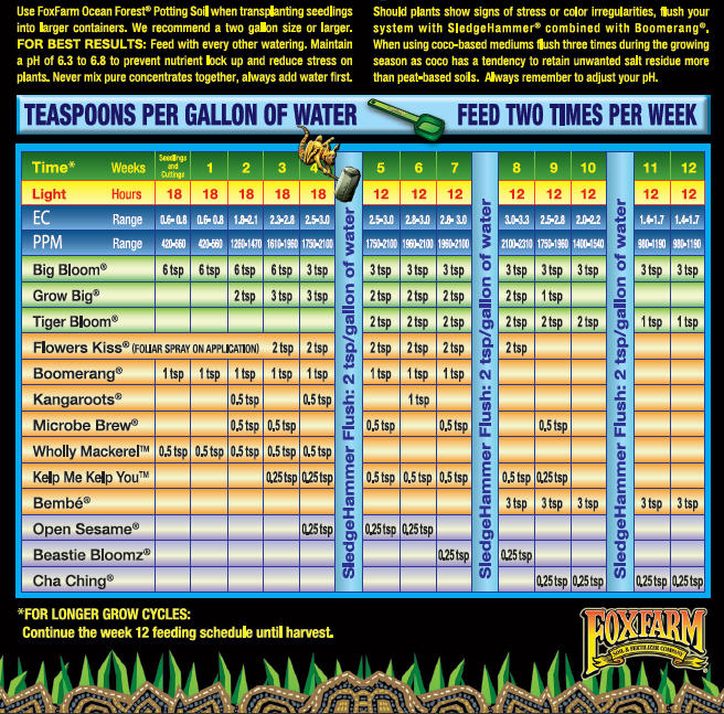 Fox Farm Feeding Schedule Proper Nutrition For Bigger Yields